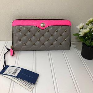 Rebecca Minkoff Grey & Neon Pink Large Luna Wallet